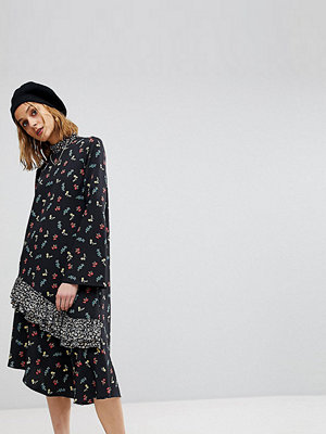 Reclaimed Vintage Mixed Print Midi Dress With Open Back