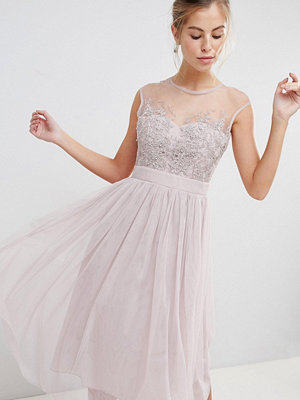 Little Mistress Midi Dress With Sheer Mesh Embroidered Top And Tulle Skirt