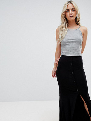 ASOS Petite ASOS DESIGN Petite maxi skirt with button front and split detail