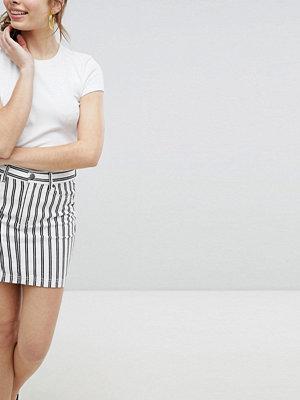 Monki Randig minikjol Svart och vit randig