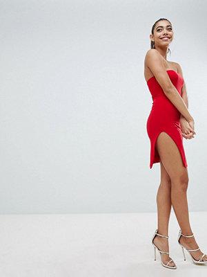 Fashionkilla Strapless Mini Dress With Thigh Split