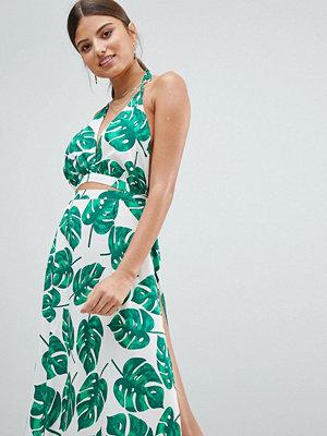 Boohoo Cut Out Leaf Print Beach Dress