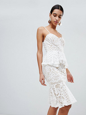 Boohoo Lace Peplum Midi Dress