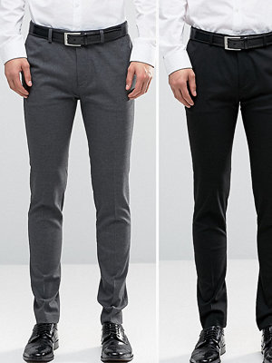 ASOS 2 Pack Super Skinny Trousers In Black And Charcoal SAVE