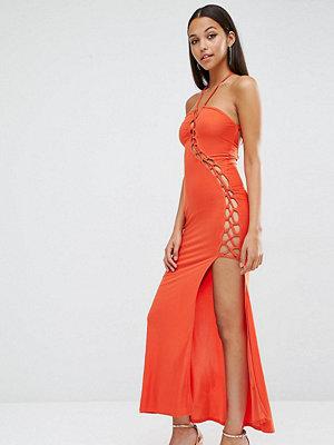 Club L Sexy Dare Maxi Dress with Lattice Detail - Cherry tomato