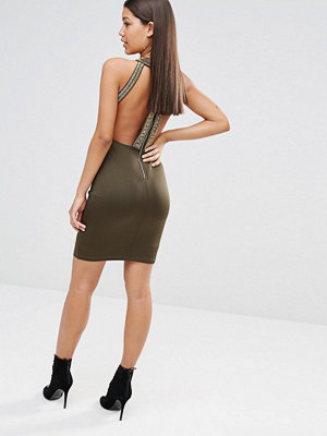 TFNC High Neck Bodycon Midi Dress with Gold Embellishment