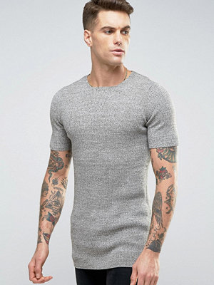 ASOS Longline Ribbed Knitted T-Shirt in Muscle Fit - Pink khaki twist