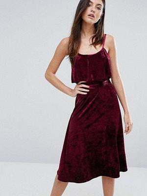 Warehouse Velvet Cami Dress - Berry
