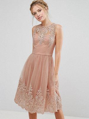 Chi Chi London Premium Lace Midi Dress with Scalloped Back - Rose/ nude