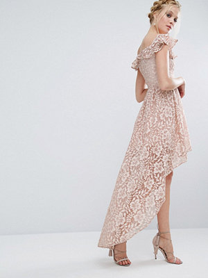 Chi Chi London Lace Asymmetric Off The Shoulder Dress With Frill Details - Mink