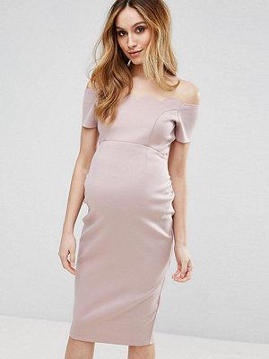 ASOS Maternity Scallop Off the Shoulder Midi Pencil Dress in Scuba - Nude