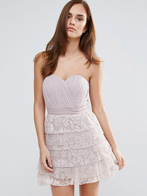 Little Mistress Lace Bandeau Mini Prom Dress