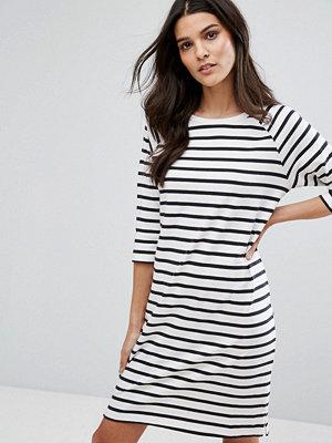 Selected Stripe Dress - White/sapphire