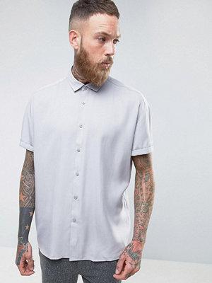 ASOS Oversized Peached Tencel Shirt In Grey