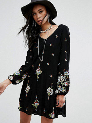 Free People Embroidered Mini Smock Dress
