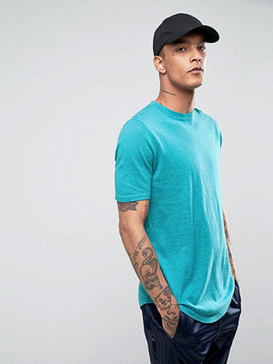 ASOS Knitted T-Shirt with Curved Hem in Teal