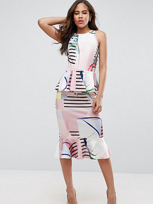 Asos Tall Double Peplum Pencil Dress In Cutabout Stripe And Floral Print - Floral