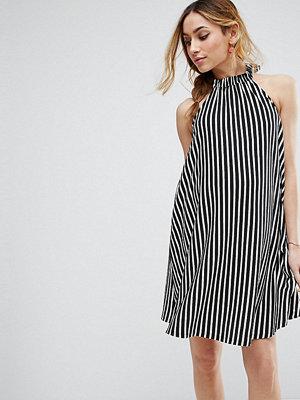 ASOS Maternity Halter Neck Swing Dress in Stripe - Stripe black/white
