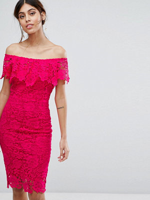 Paper Dolls Ruffle Bardot Midi Dress - Fuschia