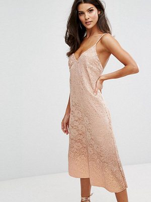 Warehouse Foil Dip Lace Slip Dress
