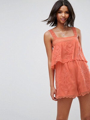 ASOS Playsuit with Double Layer and Embroidery Detail