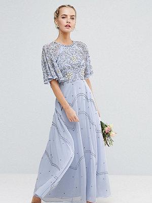 ASOS Petite Wedding Embellished Floral Flutter Sleeve Maxi Dress