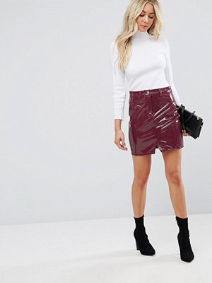 ASOS Vinyl Pelmet Skirt in Berry