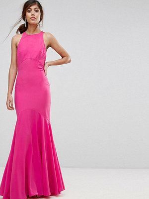 Jarlo Fishtail Maxi Dress With Open Bow Back - Fuschia