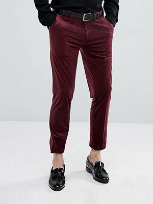 ASOS Skinny Crop Smart Trousers In Burgundy Velvet