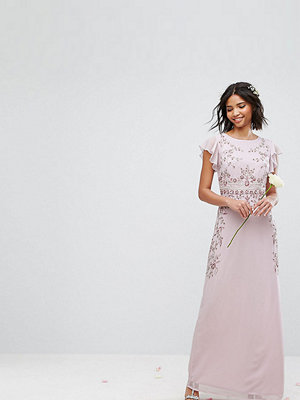 Maya Maxi Dress with Frill Sleeve and Placement Embellishment - Lilac