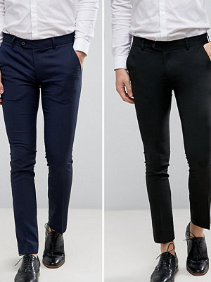 ASOS 2 Pack Super Skinny Basic Smart Trousers In Navy And Black