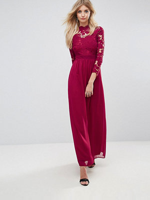 Club L 3/4 Sleeve High Neck Crochet Detailed Maxi Chiffon Dress - Deep berry