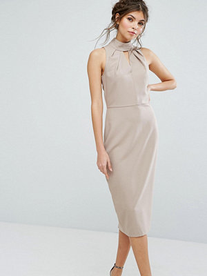 Closet London High Neck Midi Dress With Keyhole Detail - Neutral