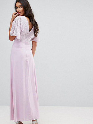 John Zack Tall Open Back Maxi Dress With Fluted Lace Sleeve