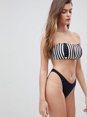 ASOS DESIGN fuller bust mix and match stripe print bandeau with v front bikini top with hook and eye
