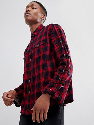 ASOS DESIGN Oversized Check Shirt With Lace Up Sleeves