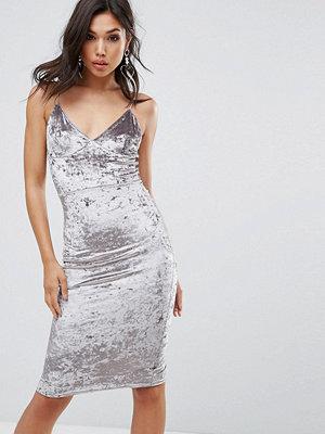 Club L Cami Strap Midi Bodycon Dress In Velvet - Silver