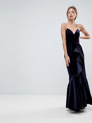 ASOS PREMIUM Velvet Ruffle Front Extreme Maxi Dress - Midnight blue