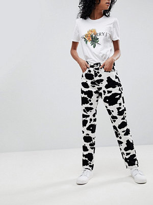 ASOS ORIGINAL MOM Jeans In Mono Cow Print - Cow print
