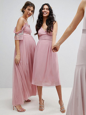 TFNC Wrap Front Midi Bridesmaid Dress With Tie Back