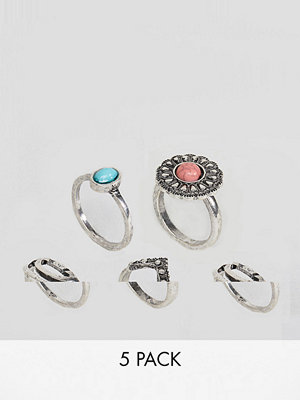 ASOS DESIGN pack of 5 burnished stone rings