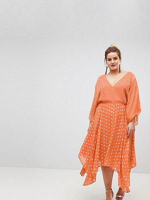 ASOS Curve Flutter Sleeve Midi Dress with Hanky Hem in Glitter Spot