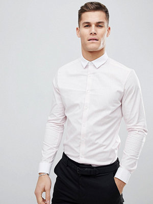 ASOS DESIGN smart stretch slim stripe shirt with contrast collar and double cuffs