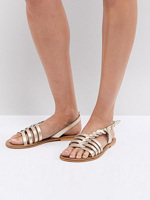 ASOS FLATTERED Leather Plaited T-Bar Flat Sandals