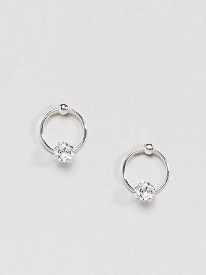 Liars & Lovers örhängen Silver Plated Circle & Stone Stud Earrings