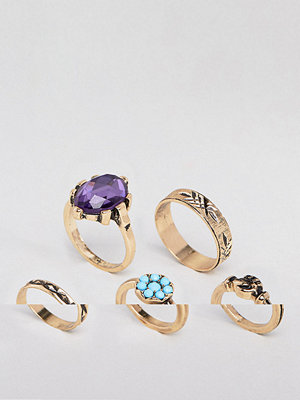 ASOS DESIGN pack of 5 vintage style ornate hand and stone rings