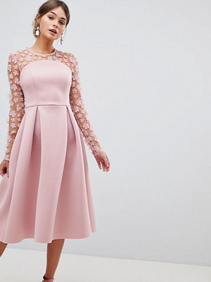 ASOS DESIGN 3D floral lace bandeau scuba prom midi dress - Blush
