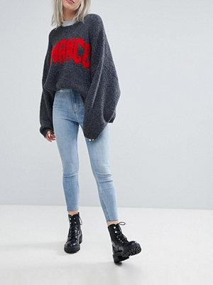 Weekday Body Raw Hem High Waist Super Stretch Skinny Jeans - Light blue