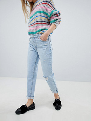 Bershka High Waisted Mom Jean - Light blue