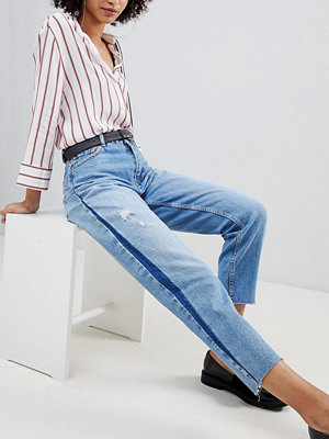 Bershka side stripe distressed mom jean in blue wash